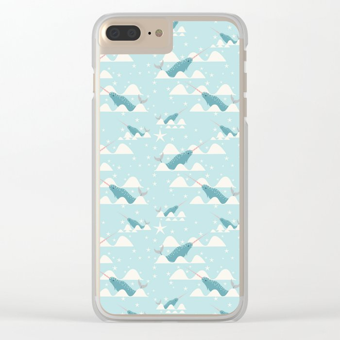 narwhal in ocean Clear iPhone Case
