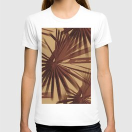 Burgundy and Coffee Tropical Beach Palm Vector T-shirt