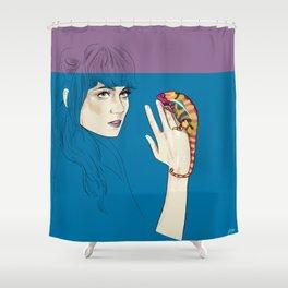 Grimes - Musician portrait - Digital illustration Shower Curtain