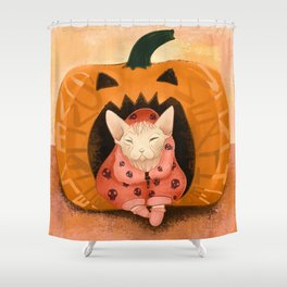 Sweater Weather - Sphynx Cat in a Skull Sweatshirt  - Pumpkin Shower Curtain