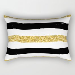 Black and Gold Glitter Brushstroke Stripes Rectangular Pillow