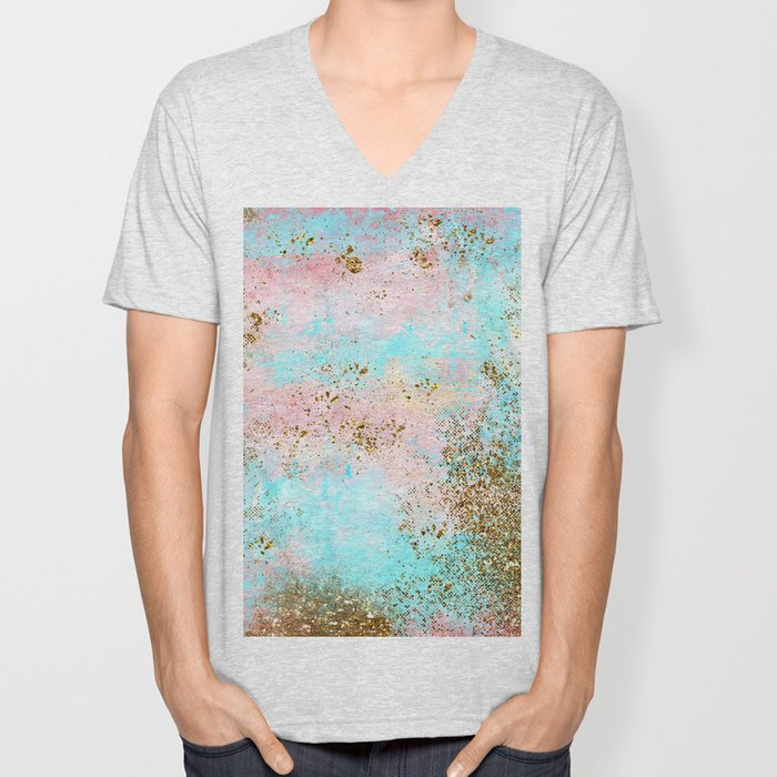 Pink and Gold Mermaid Sea Foam Glitter Unisex V-Neck