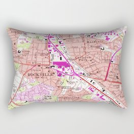 Vintage Map of Rockville Maryland (1965) Rectangular Pillow