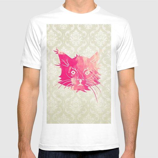 Pink Watercolor Cat Vector Vintage Floral Damask T-shirt