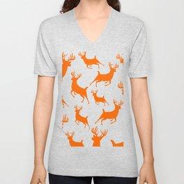 Deer Silhouette Pattern Hunt Blaze Orange Outdoors Rustic Country Unisex V-Neck