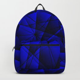 Geometric web of blue lines with dark triangular highlights. Backpack