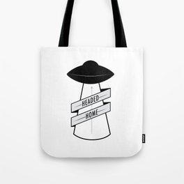 Headed Home UFO: Black & White Tote Bag