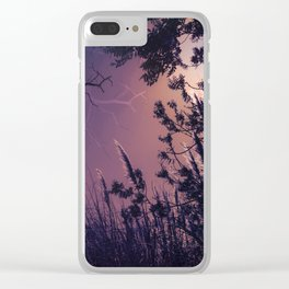 Moonlight Sonata (Tree and Reed Plant Silhouette) Clear iPhone Case