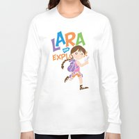megan lara Long Sleeve T-shirts featuring Lara the Explorer by Gimetzco's Damaged Goods