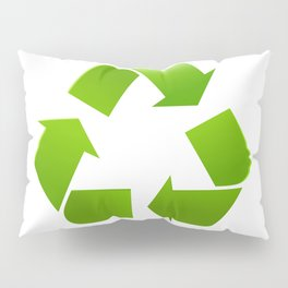 Green Recycle symbol on white background Pillow Sham
