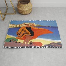 Vintage poster - La Plage de Calvi, La Corse, France Rug