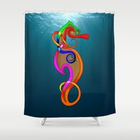 psychadelic Shower Curtains featuring Psychadelic Seahorse Knot by Knot Your World