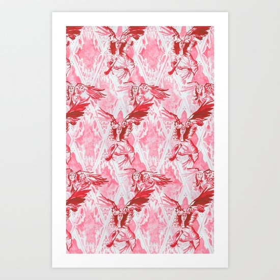 Guardian Angel (Red) Art Print