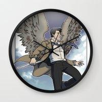 castiel Wall Clocks featuring Castiel by DeanDraws