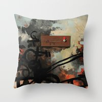 chad wys Throw Pillows featuring Dog Walker (A collaboration by Chad, Gabi, and Emily Beroth) by Chad Beroth