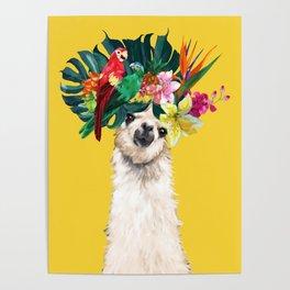 Aloha Hawaii Llama in Yellow Poster