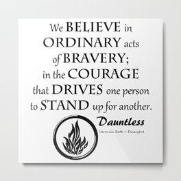 Dauntless Black Lettering Metal Print