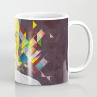 christopher walken Mugs featuring Technicolor Walken by Jolene Rose Russell
