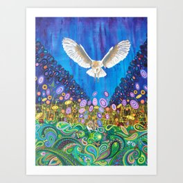 Owl and Mouse Art Print