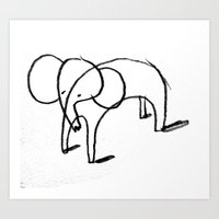 elephants Art Prints featuring elephants by Sammy Arnault-Ham Illustration