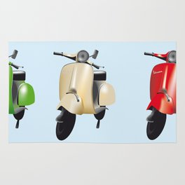 Three Vespa scooters in the colors of the Italian flag Rug