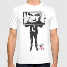 TV IS KILLING US Mens Fitted Tee White SMALL