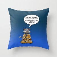 buddah Throw Pillows featuring Buddah Cat by The Big Bad Dream Machine