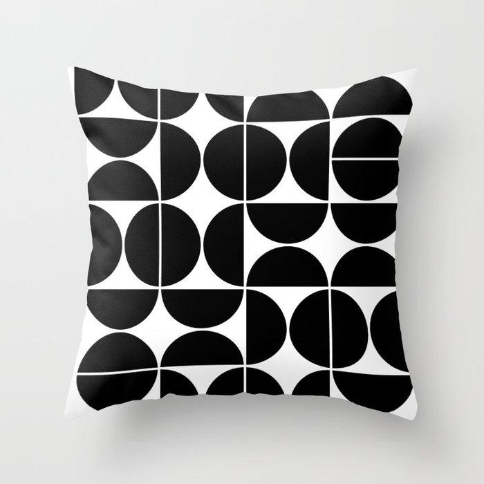 Mid Century Modern Geometric 04 Black Throw Pillow
