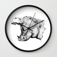 hippo Wall Clocks featuring Hippo by MattLeckie