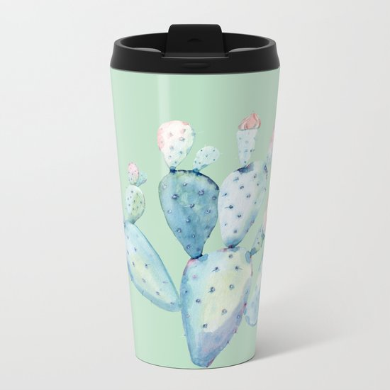 Rose Desert Cactus Light Mint Green by Nature Magick Metal Travel Mug