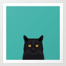 Cat head black cat peeking gifts for cat lovers pet portraits Art Print