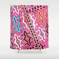 kilim Shower Curtains featuring Aztec Kilim 2 by EllaJo