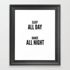 Sleep and dance Framed Art Print