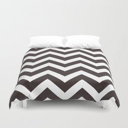 Black coffee - grey color - Zigzag Chevron Pattern Duvet Cover