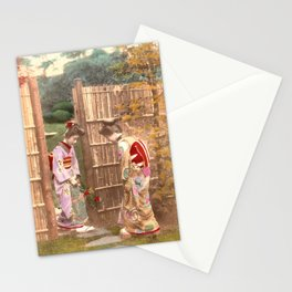 Japanese women walking on stepping stones Stationery Cards