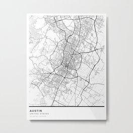 Austin Simple Map Metal Print