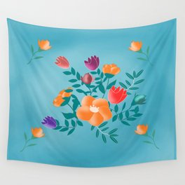 Classic floral with blue background Wall Tapestry