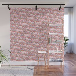 'Bonjour' Trendy Rainbow Text Pattern (Pink) Wall Mural