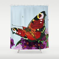 butterfly Shower Curtains featuring Butterfly   by Marjolein