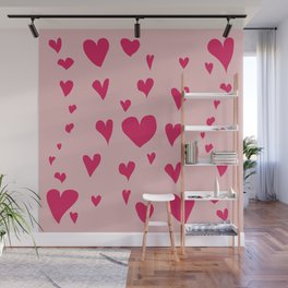 Imperfect Hearts - Pink/Pink Wall Mural