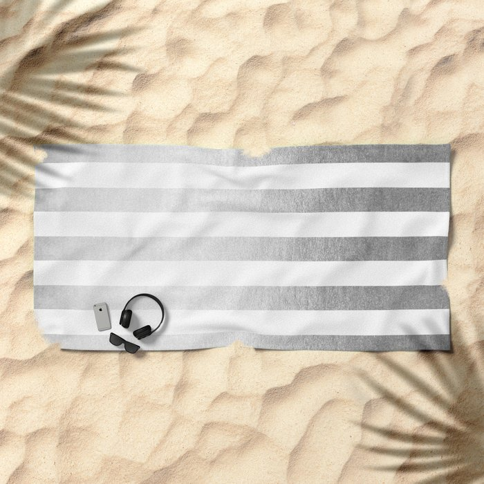 Simply Striped Moonlight Silver Beach Towel