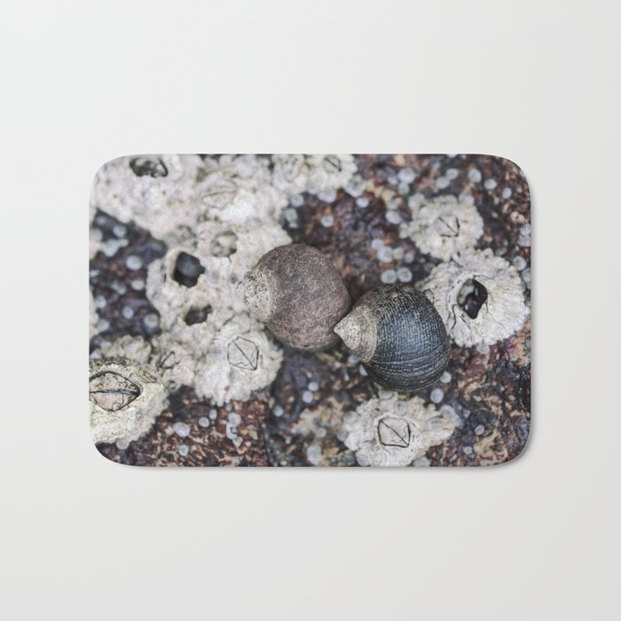 Periwinkles and Barnacles on a rock Bath Mat by rogerporter | Society6
