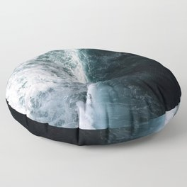 Oceanscape - White and Blue Floor Pillow
