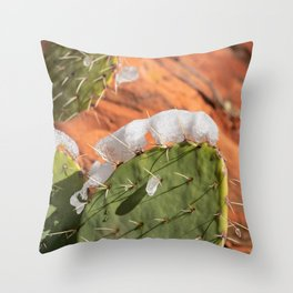 Snow-Capped Cacti - 0717 Throw Pillow