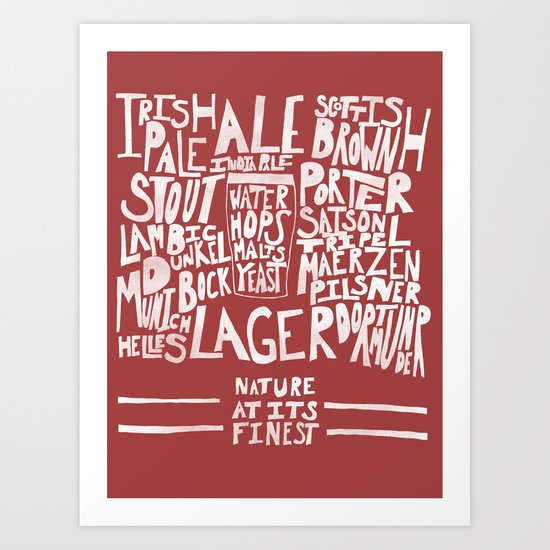 Beer : Red Art Print