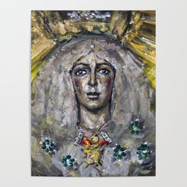 Esperanza Macarena of Seville with candle light Poster