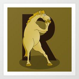 Monogram R Pony Art Print