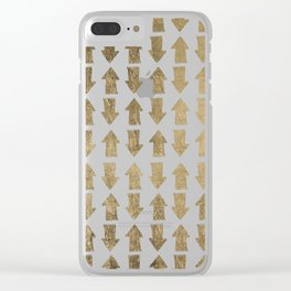 Chic modern faux gold white bohemian arrows pattern Clear iPhone Case