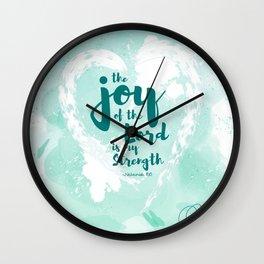 Joy of the Lord Aqua Watercolor Wall Clock