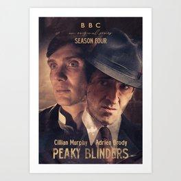 Peaky Blinders poster, Cillian Murphy is Thomas Shelby, Adrien Brody is Luca Changretta Art Print